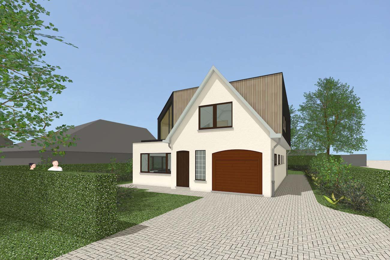 Woning in Mariakerke 3D render van renovatie in crepi met een nieuwe volume in CLT afgewerkt in hout voorgevel