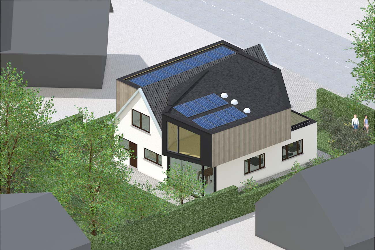 Woning in Mariakerke 3D render van renovatie met een nieuwe volume in CLT met een groen dak en zonnepanelen achtergevel