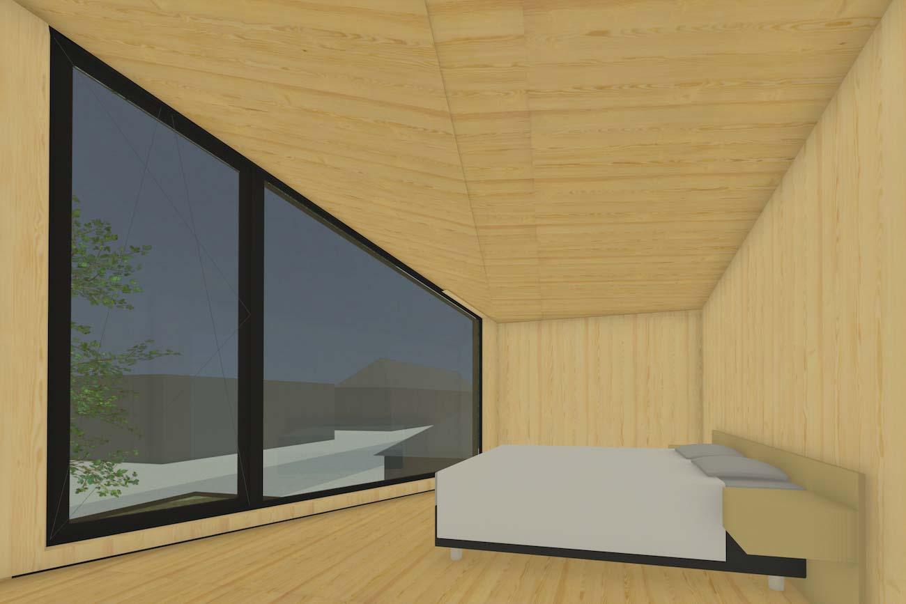 Woning in Mariakerke 3D render van slaapkamer met een grote raam in nieuwe CLT volume