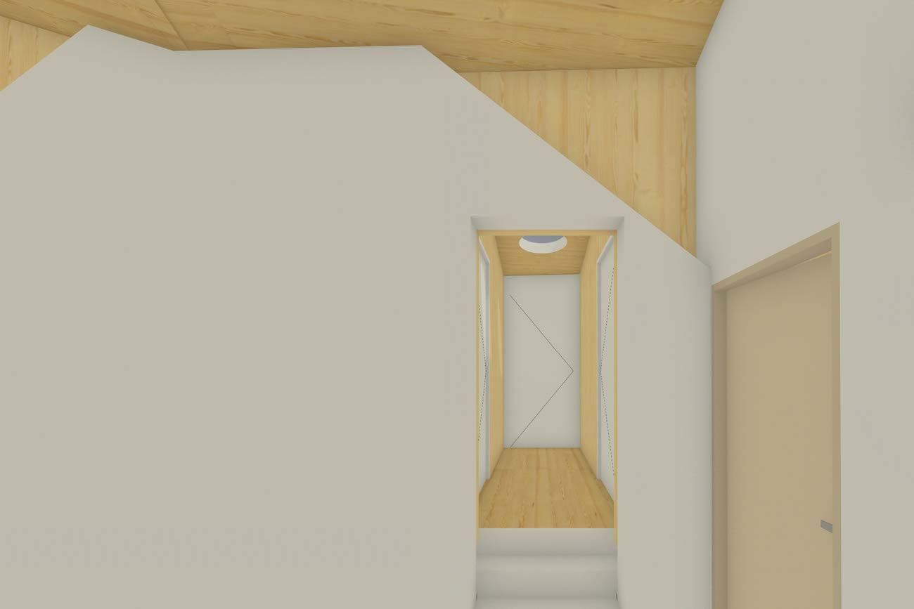 Woning in Mariakerke 3D render van combinatie tussen oude muren en de nieuwe CLT volume