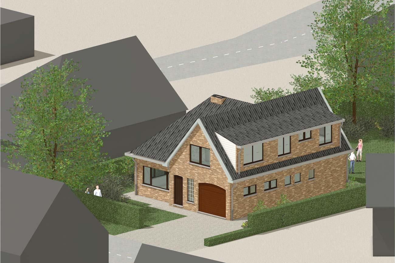 Woning in Mariakerke 3D render van bestande situatie voorgevel