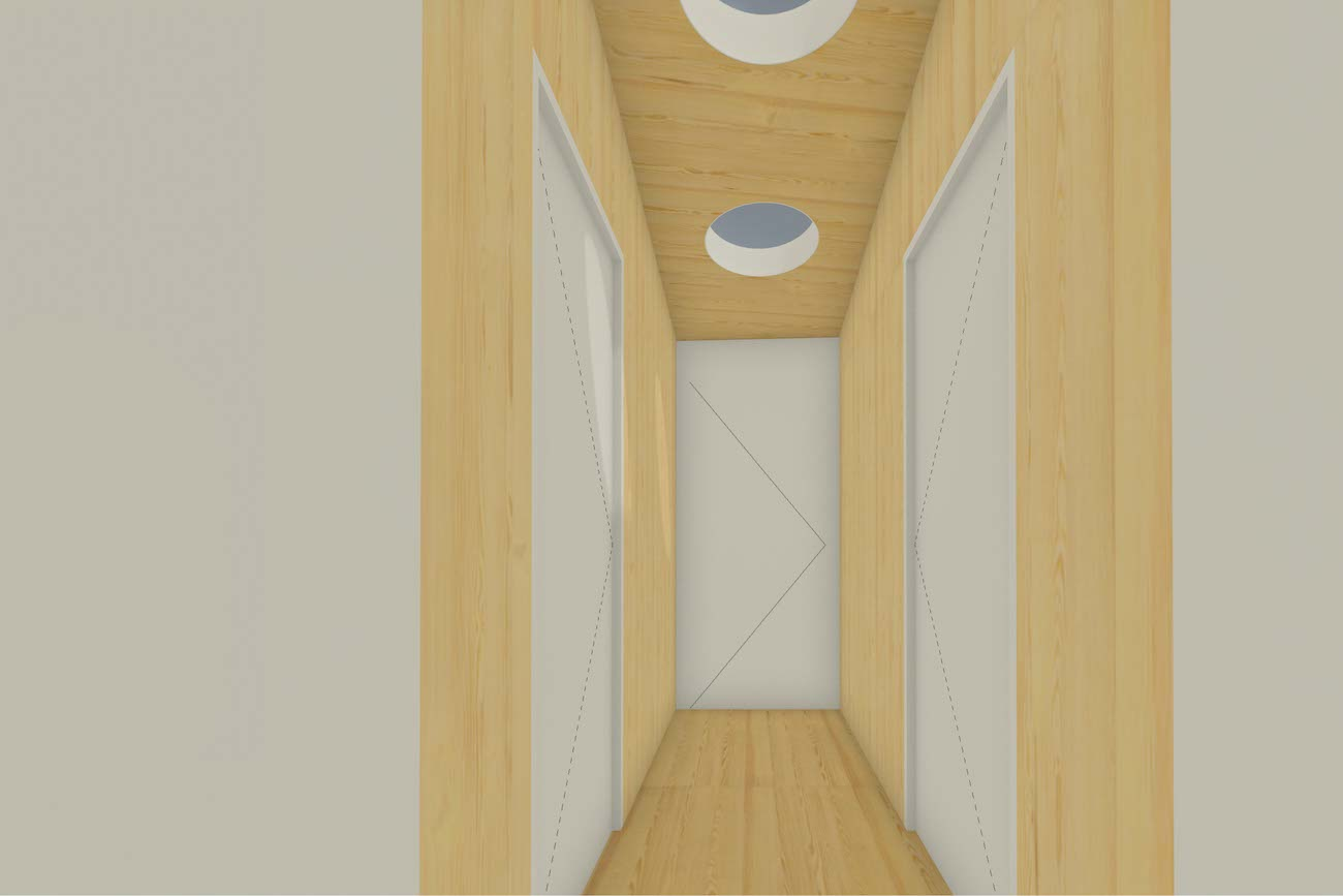 Woning in Mariakerke 3D render nieuwe CLT volume verdieping hal met dak lichten