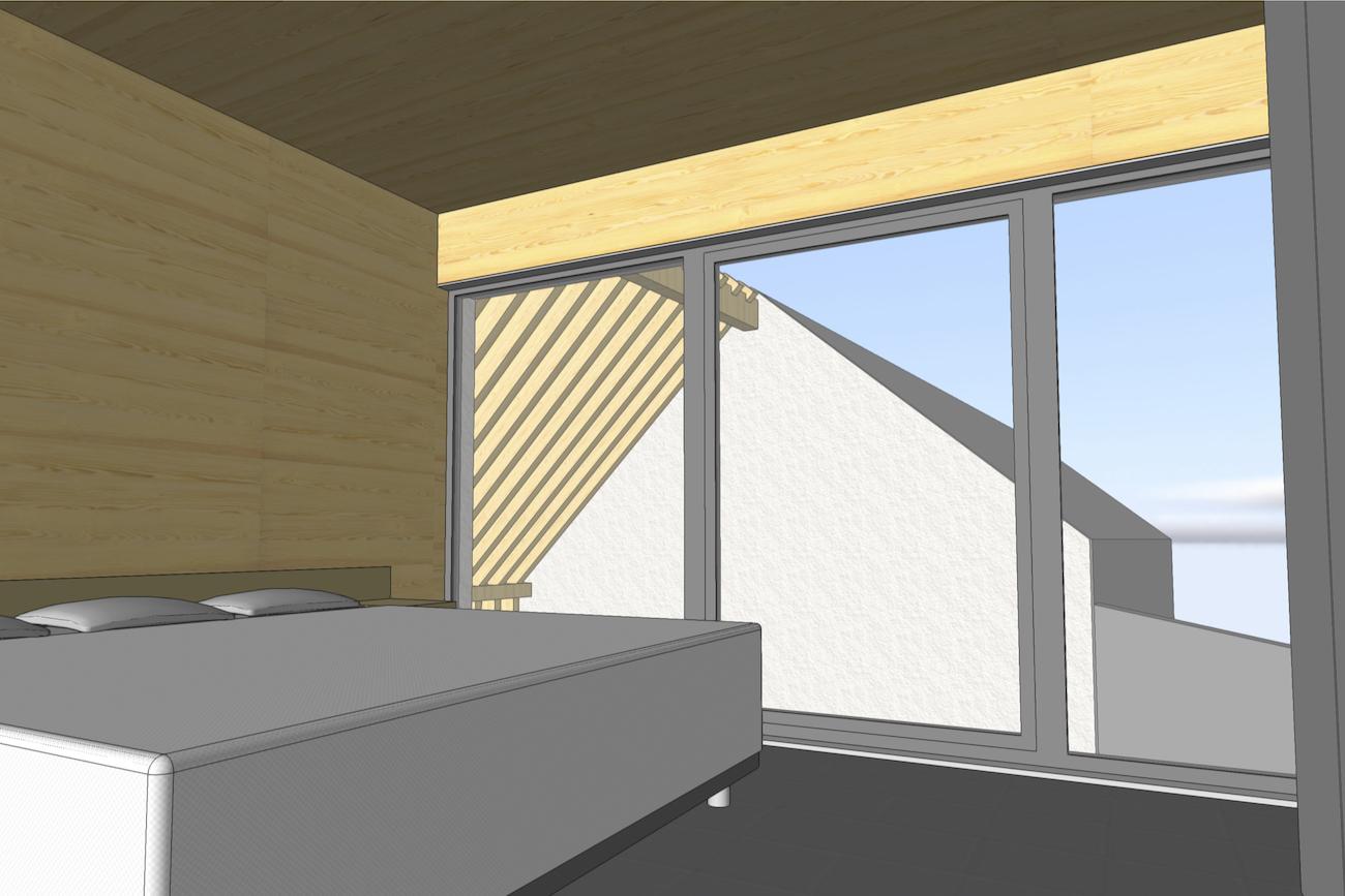 Woning in Dendermonde 3D render CLT huis slaapkamer