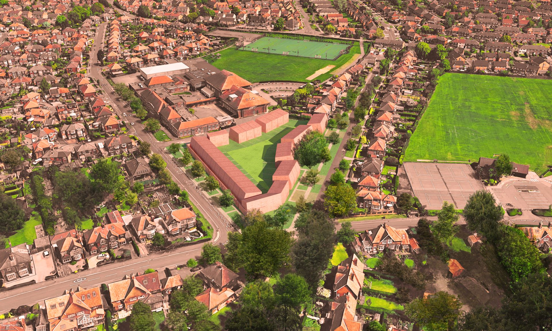 An aerial view of a sustainable housing development, with terraces of contemporary homes arranged around a shared green space in the centre.