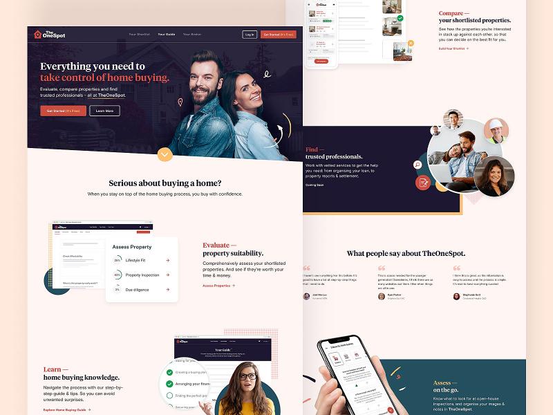 TheOneSpot Homepage design