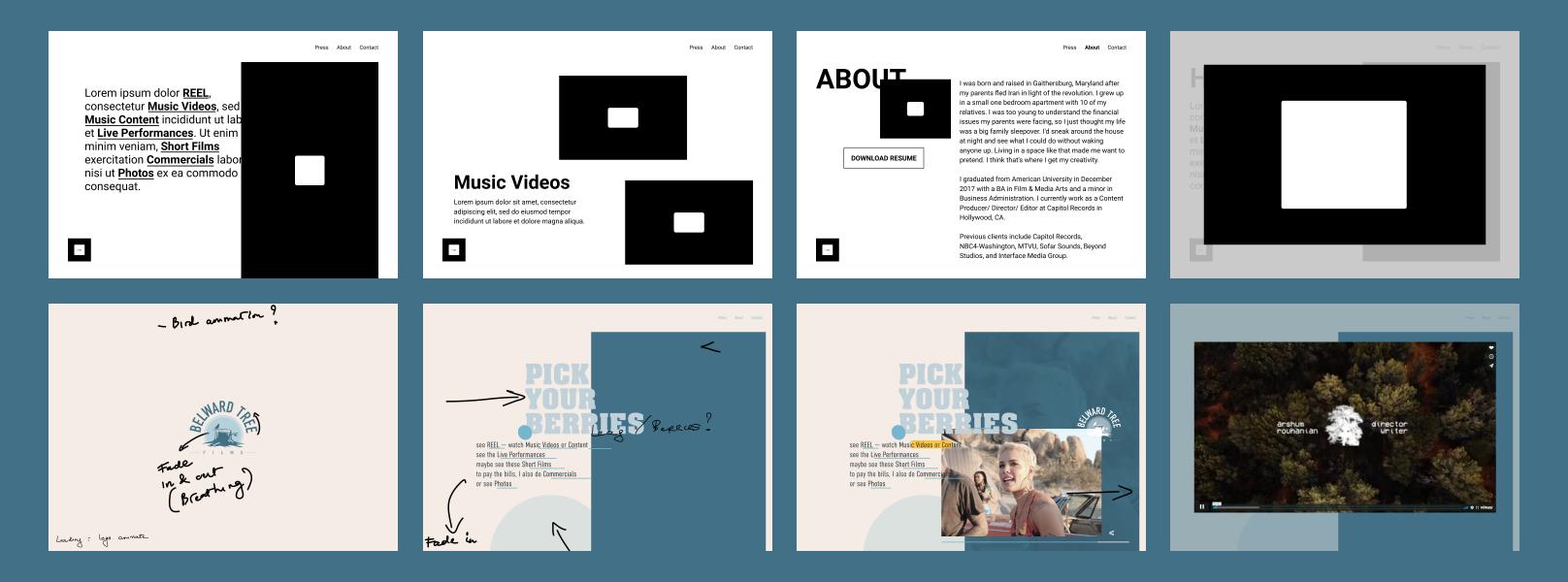 Belward Tree Films Wireframe & Concept