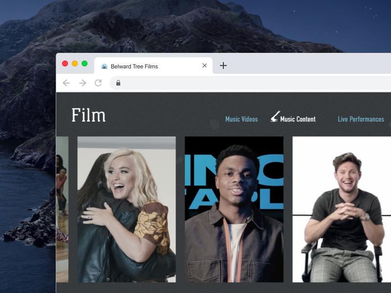 Belward Tree Films website mockup on a laptop