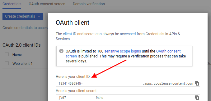 Copy Google Client ID - How to get Google Client ID and Client Secret