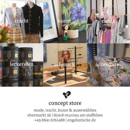 Corporate Design Projekt. Werbeflyer für alpinen Concept Store engelsstücke in der Nähe von München.