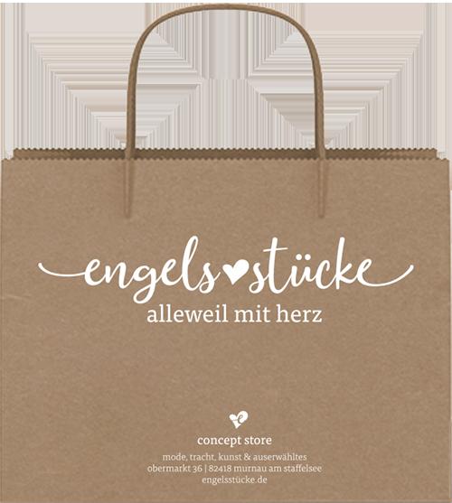 Corporate Design Projekt. Mockup von Papiertüte für Ladengeschäft engelsstücke im oberbayerischen Murnau.