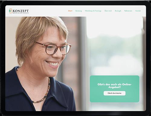 Webdesign Projekt. Eine full responsive Website basierend auf das Webflow CMS für KB Konzept aus Hamburg.