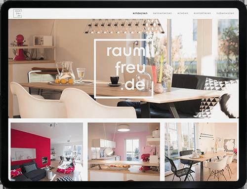 Corporate Design Projekt. Website Design für die Interior Beratung raumfreu.de aus Murnau am Staffelsee.