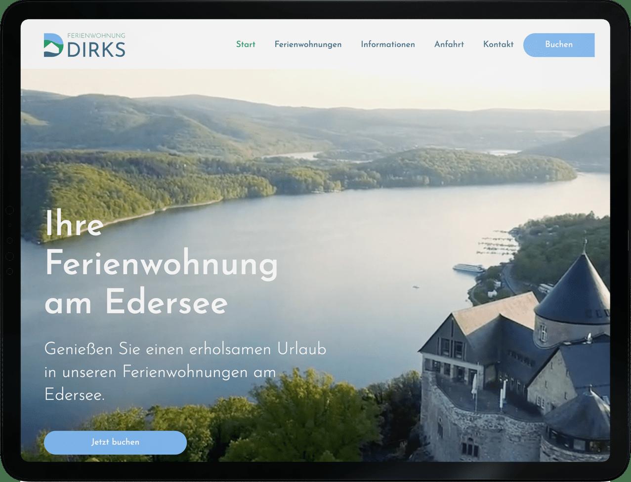 Screenshot vom Webdesign Projekt für Ferienwohnung Dirks