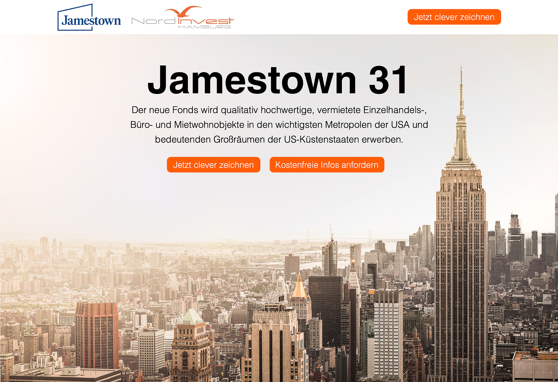 finoro unterstützt seinen langjährigen Partner Nordinvest durch breit aufgelegte digitale Kampagnen. Hier: der Immobilienfonds Jamestown 31 des Marktführers für US-Immobilien.