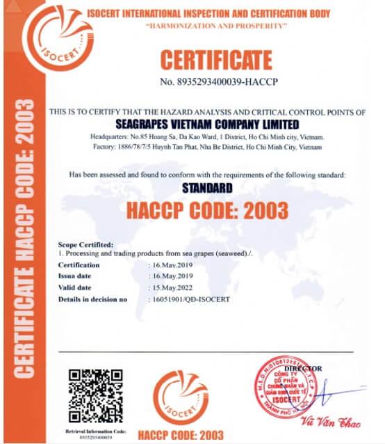 Chứng nhận ATVSTP HACCP Quốc tế sô 8935293400039.