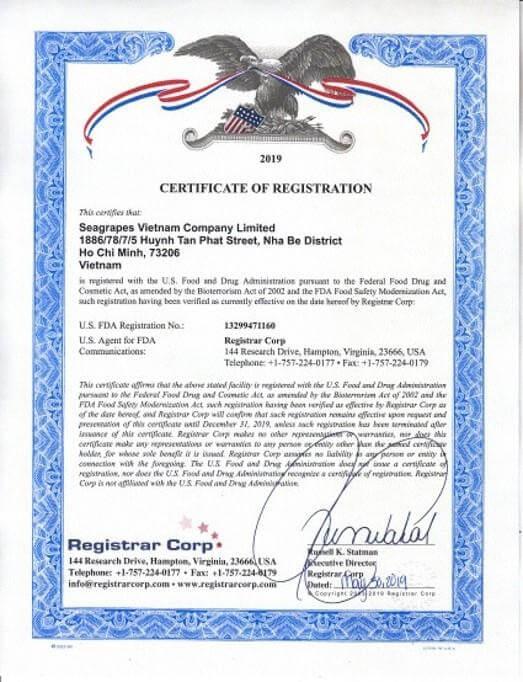 Đạt chuẩn FDA-USA Hoa Kỳ số 13299471160.