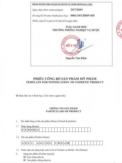 phiếu công bố sản phẩm kem chống lão hóa Fedora do bộ y tế Việt Nam cấp.