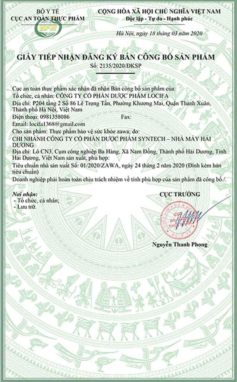 Giấy tiếp nhận đăng ký bản công bố sản phẩm do Bộ y tế cấp cho sản phẩm Zawa