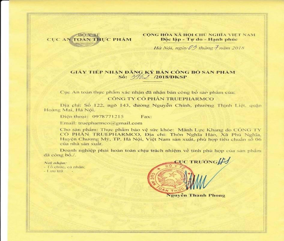 Giấy tiếp nhận đăng ký bản công bố sản phẩm Mãnh Lực Khang Plus do Bộ y tế Cục An Toàn Thực Phẩm cấp phép.