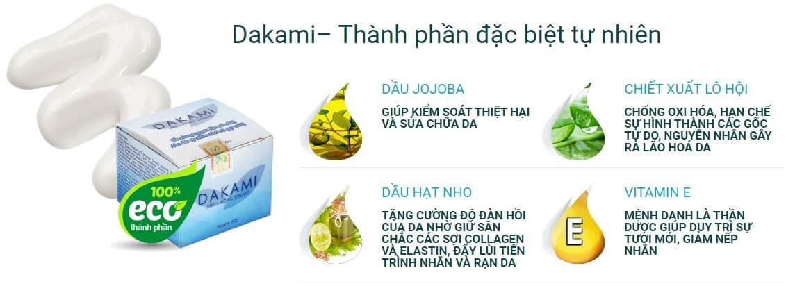 Thành phần kem dưỡng trắng da Dakami