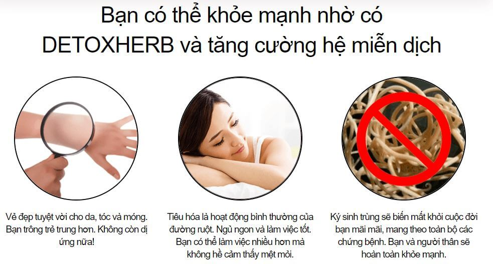 thuốc diệt ký sinh trùng Detoxherb có tác dụng gì