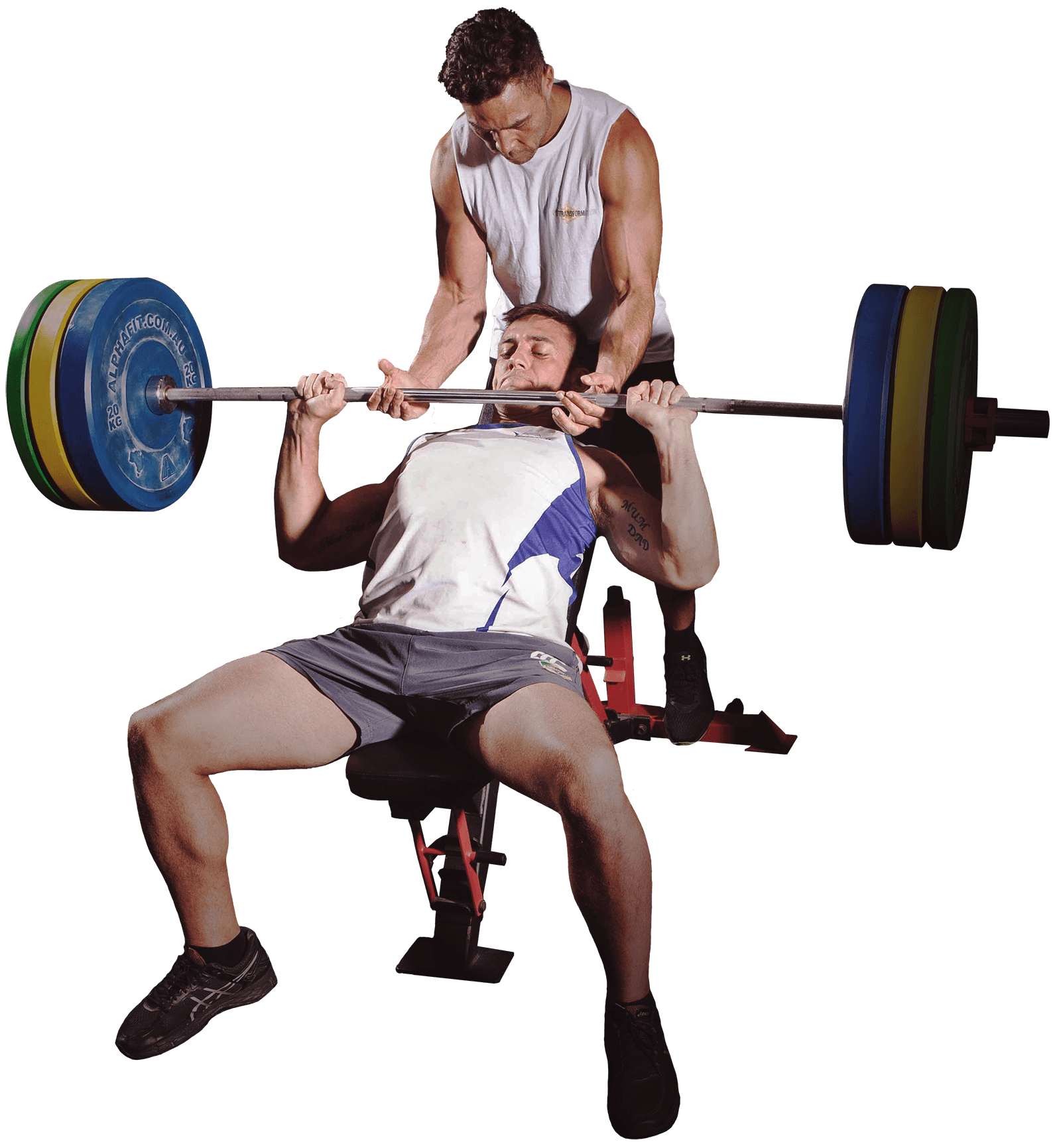 male athlete bench pressing with spotter friend
