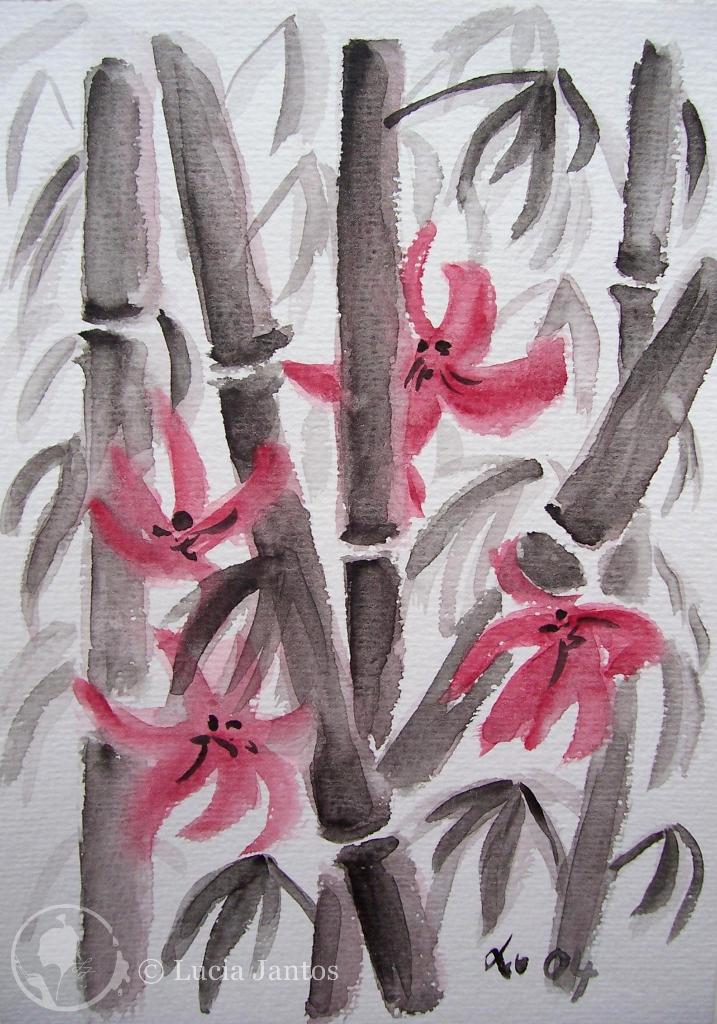 Bambus mit Blüten  - Acryl auf Papier Din A5