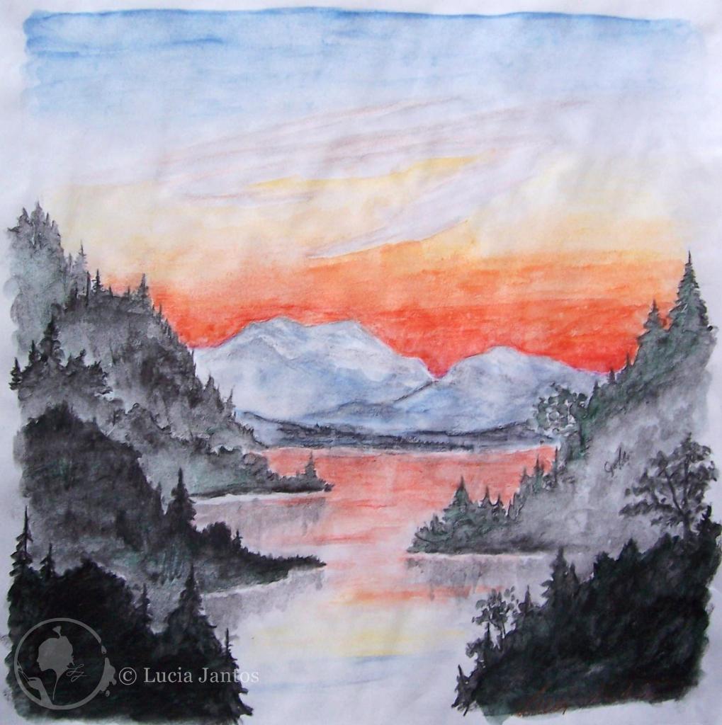 Sonnenuntergang - Wasserfarben Aquarell auf Papier Din A4