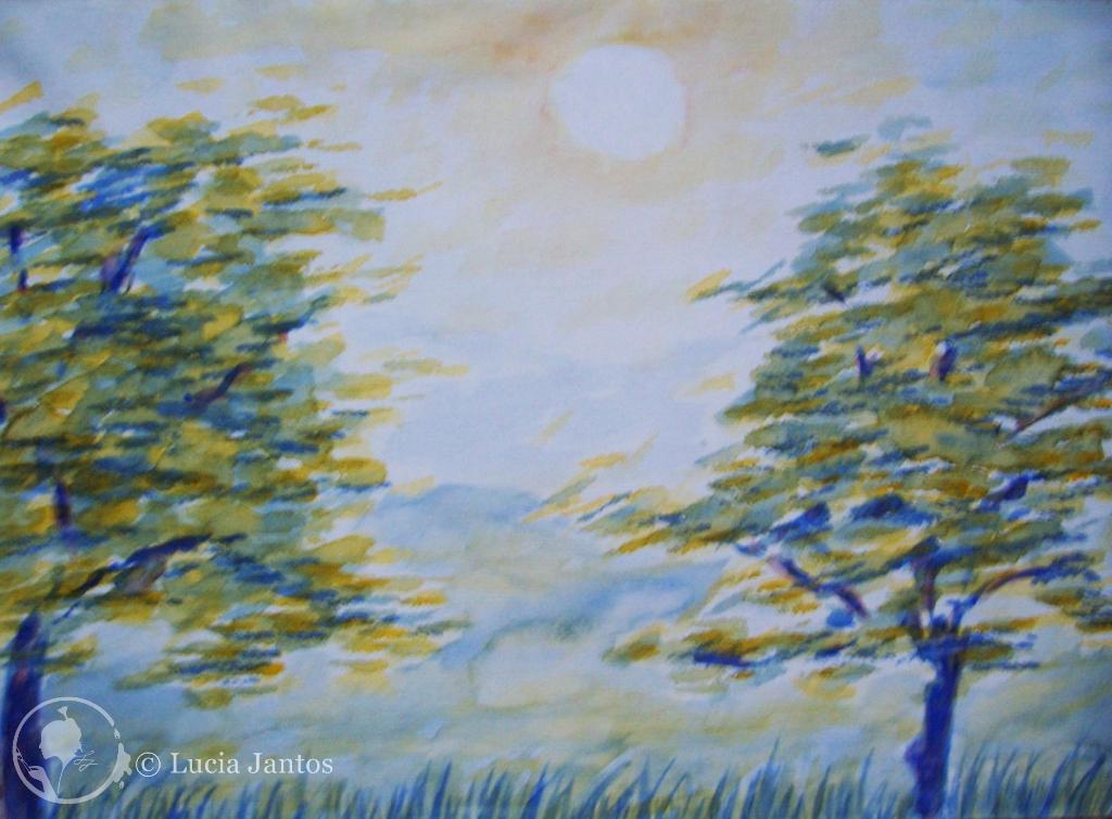 Bäume im Sonnenlicht - Wasserfarben auf Papier Din A4