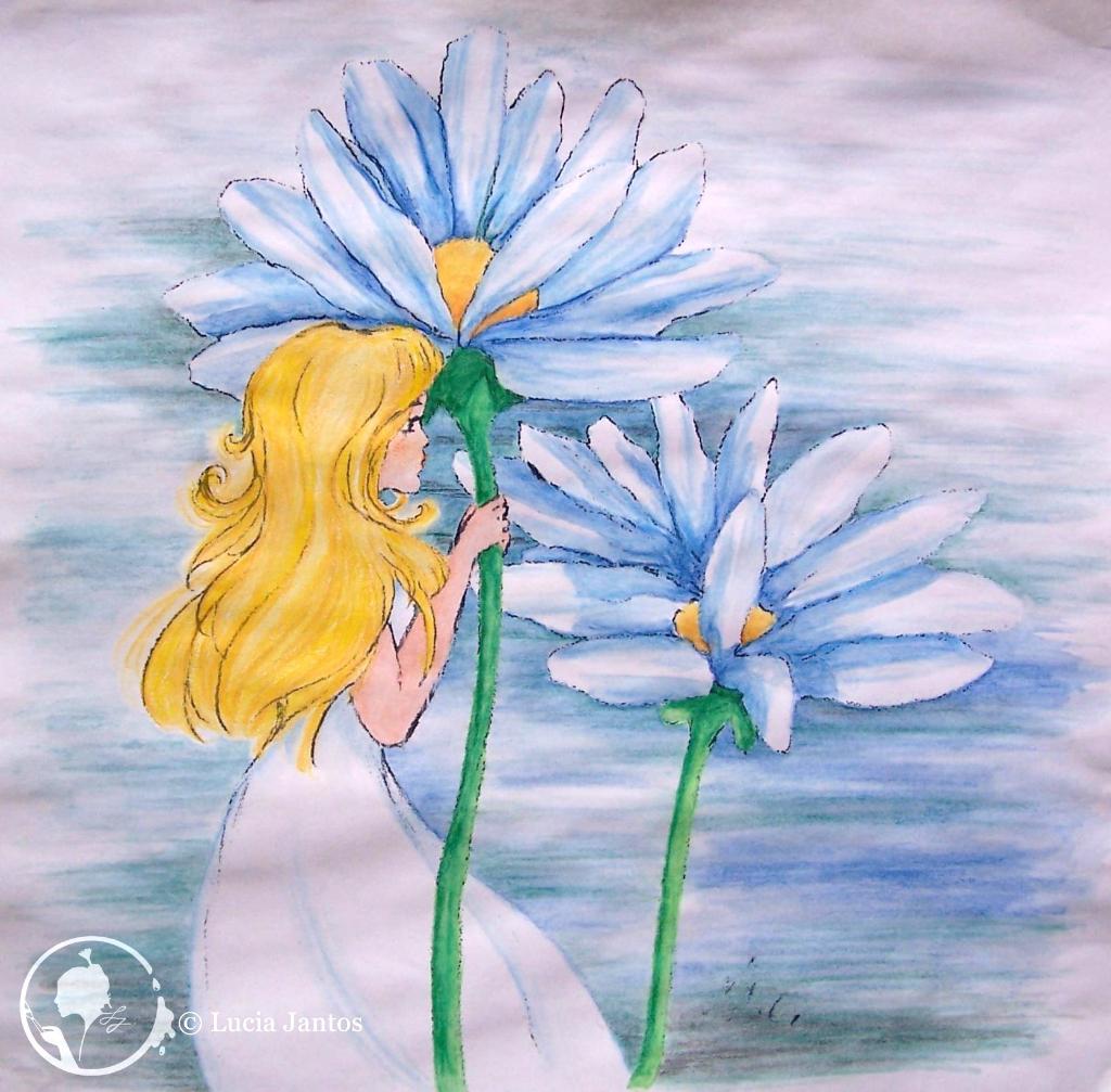 Blumenkind - Farbstiftzeichnung auf Papier Din A4