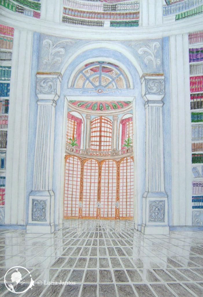 Die Schlossbibliothek - Farbstiftzeichnung auf Papier Din A4