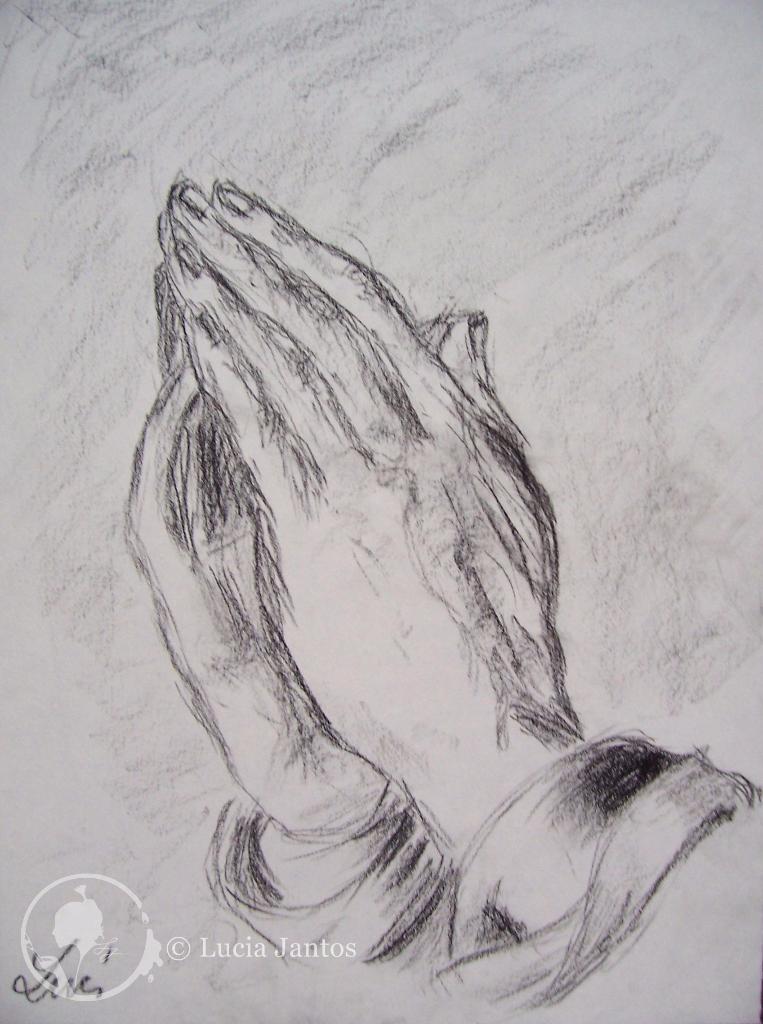Betende Hände - Kohlezeichnung auf Papier Din A4
