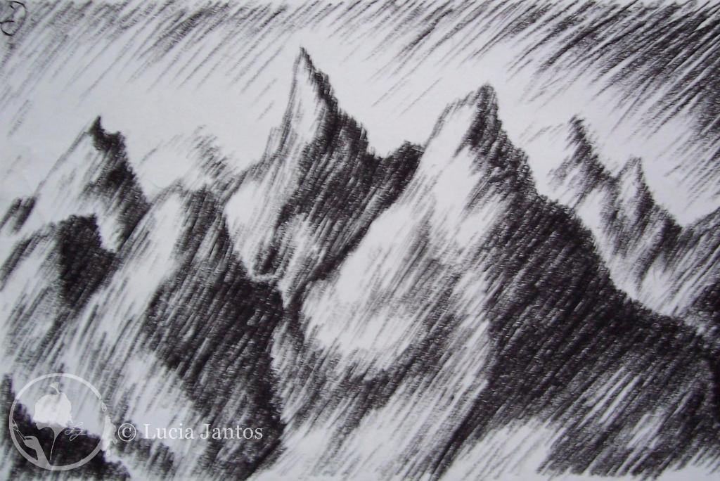 Spitzberge - Kohleschraffur auf Papier Din A3