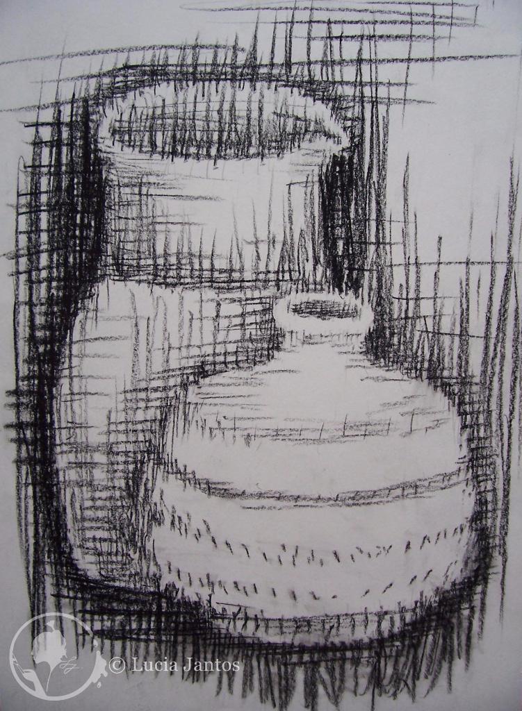 Schraffierte Vasen - Kohleschraffur auf Papier Din A4