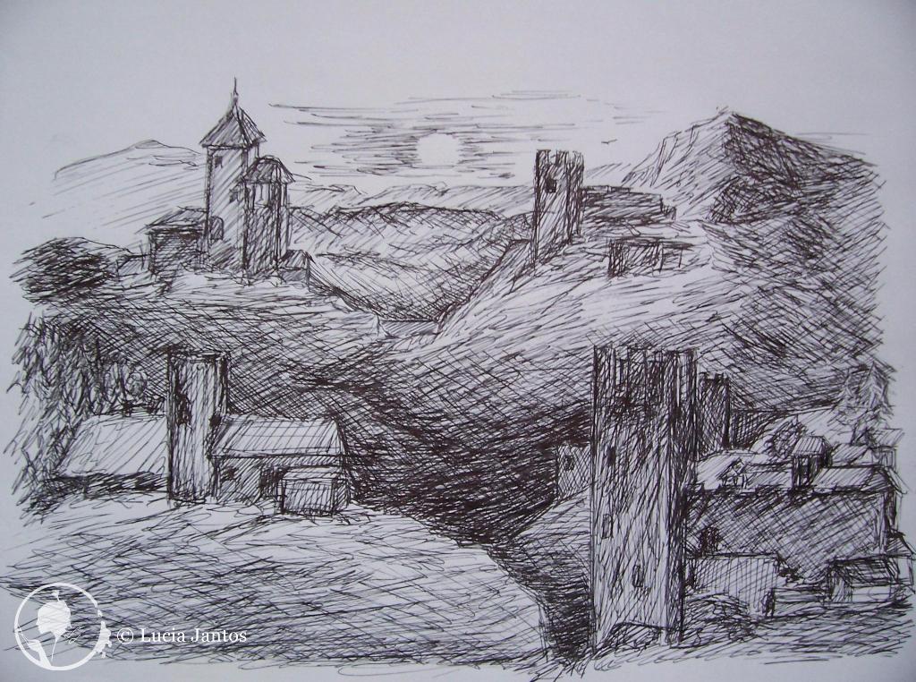 Burgen in der Dämmerung - Tuscheschraffur Hügelsee - Kohleschraffur auf Papier Din A3 Din A4