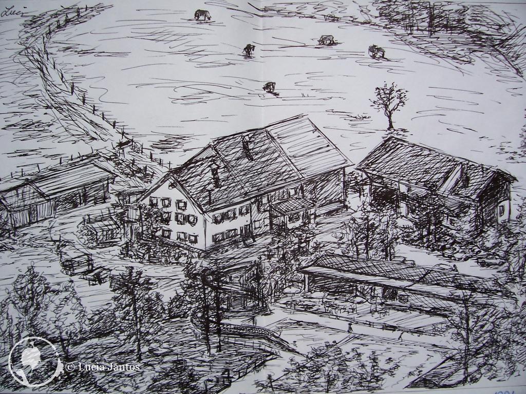 Der Reischhof - Tuschezeichnung auf Papier Din A4