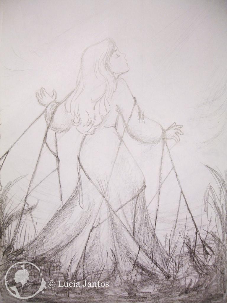 Freiheitsdrang - Bleistiftzeichnung Hügelsee - Kohleschraffur auf Papier Din A3 Din A4