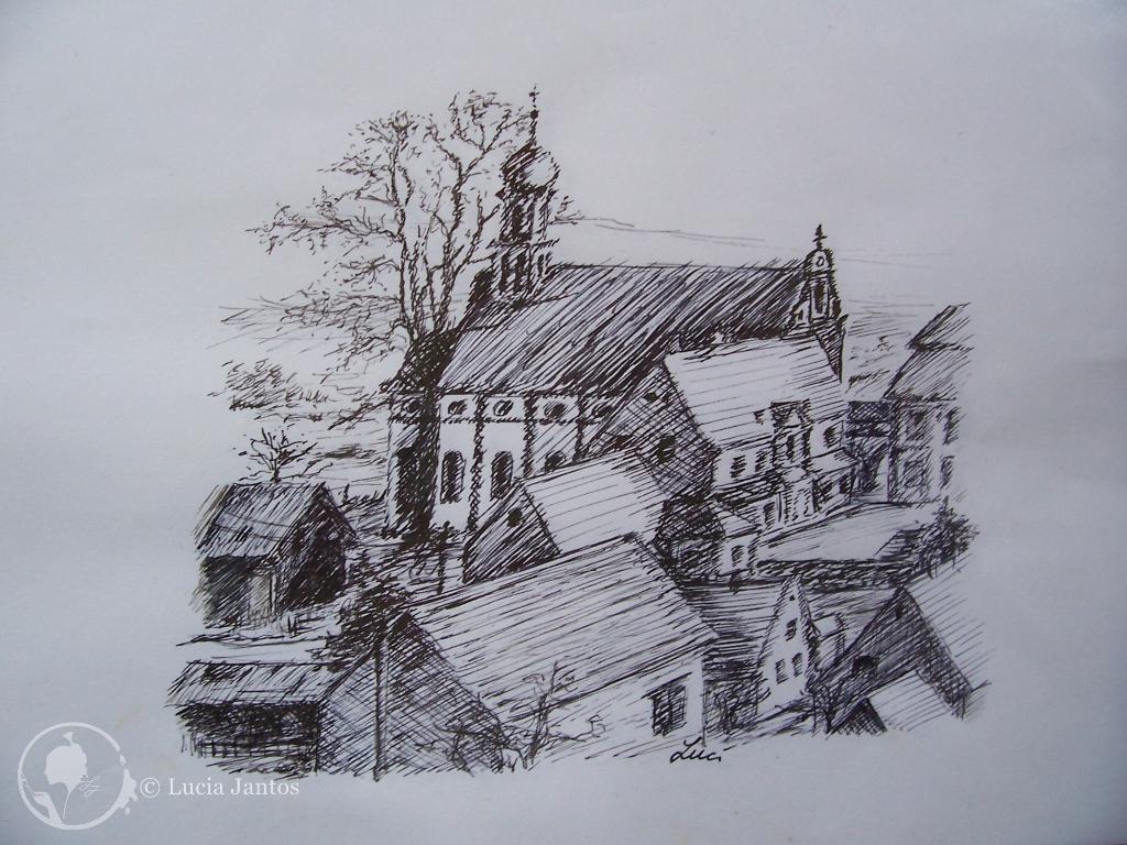 Kirche an der Donau - Tuschenzeichnung Hügelsee - Kohleschraffur auf Papier Din A3 Din A4