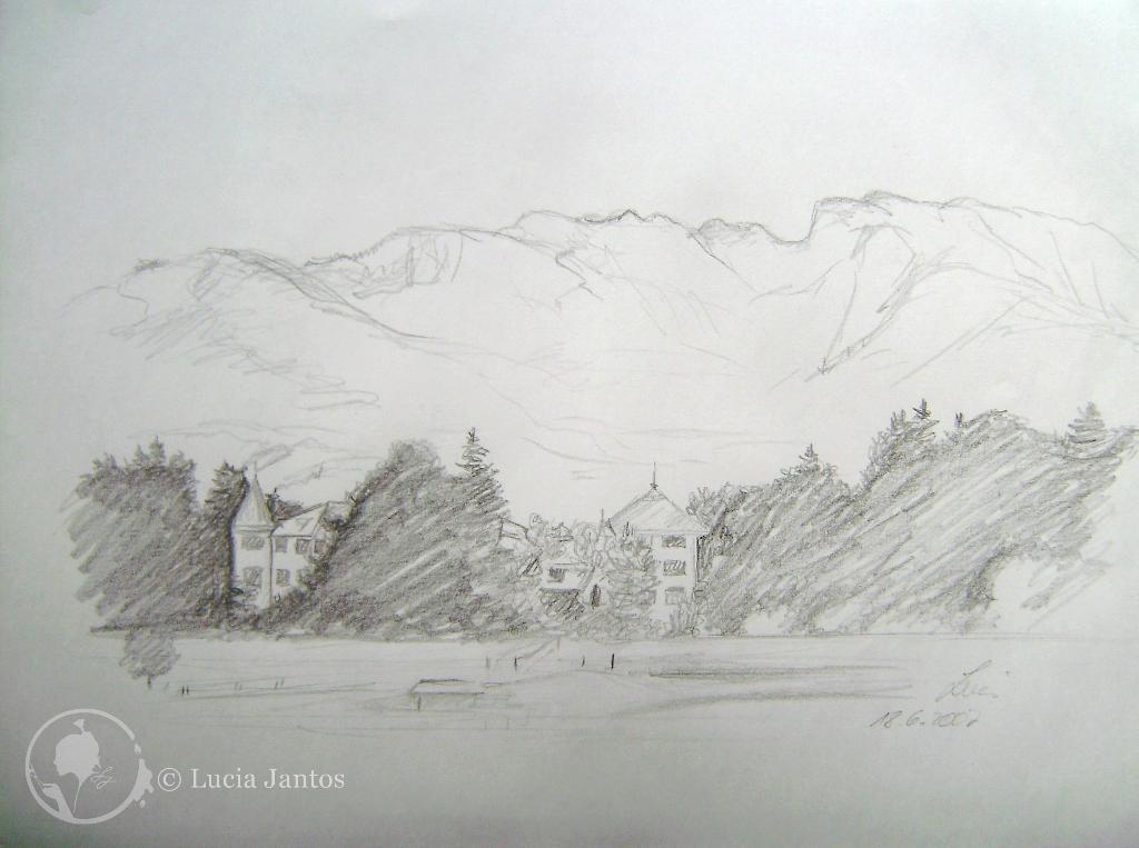 Schloss Reichersbeuern - Bleistiftskizze Hügelsee - Kohleschraffur auf Papier Din A3 Din A4