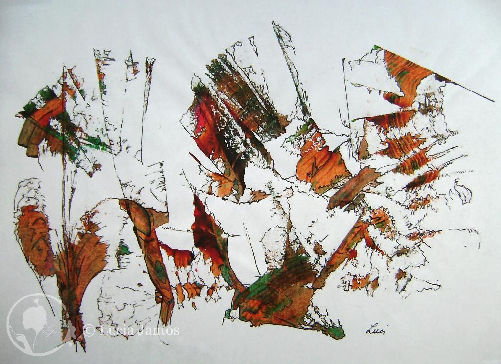 Spuren  - Abdrucktechnik, Acryl auf Papier Din A4