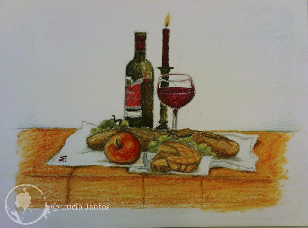 Rotweinstilleben - Ölpastellfarbe auf Papier Din A3