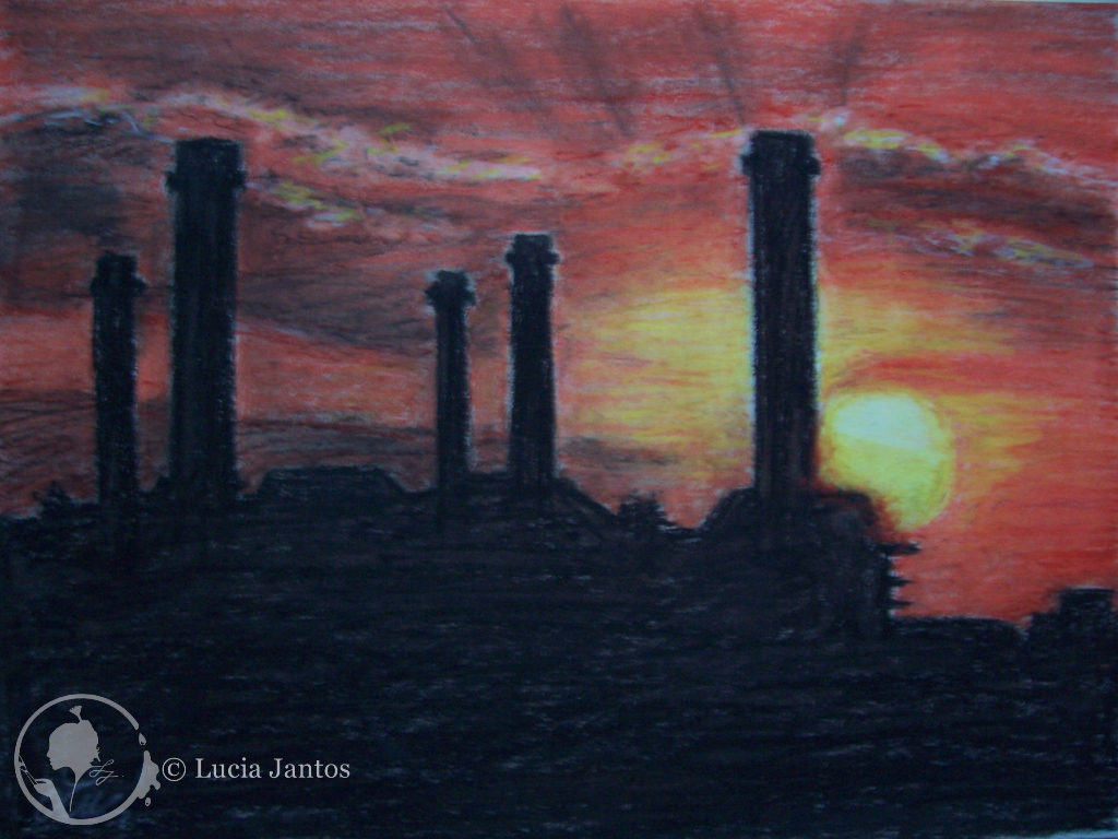 Fabrik im Sonnenuntergang - Ölpastellfarbe auf Papier DIN A4