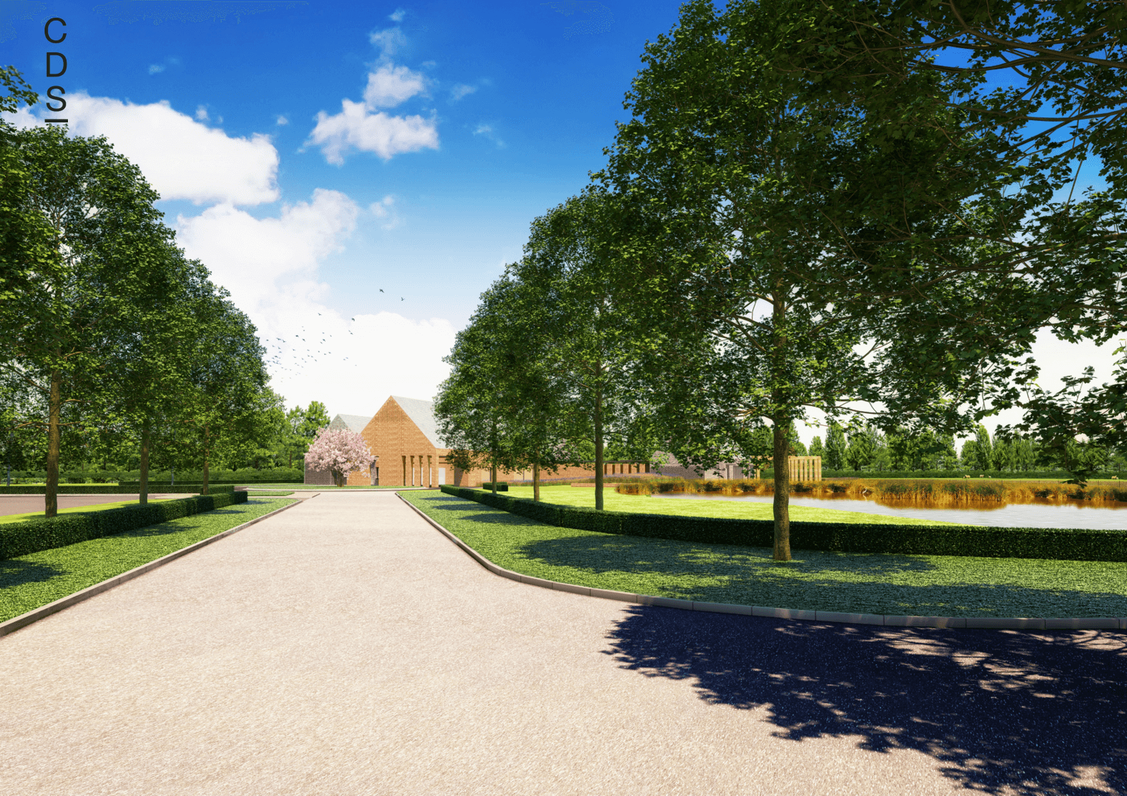 Hambleton Crematorium Driveway Entrance, Landscaping Design