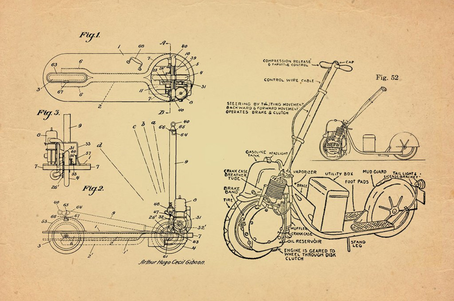 Design drawings depicting the components of the Autoped, the first electric scooter.
