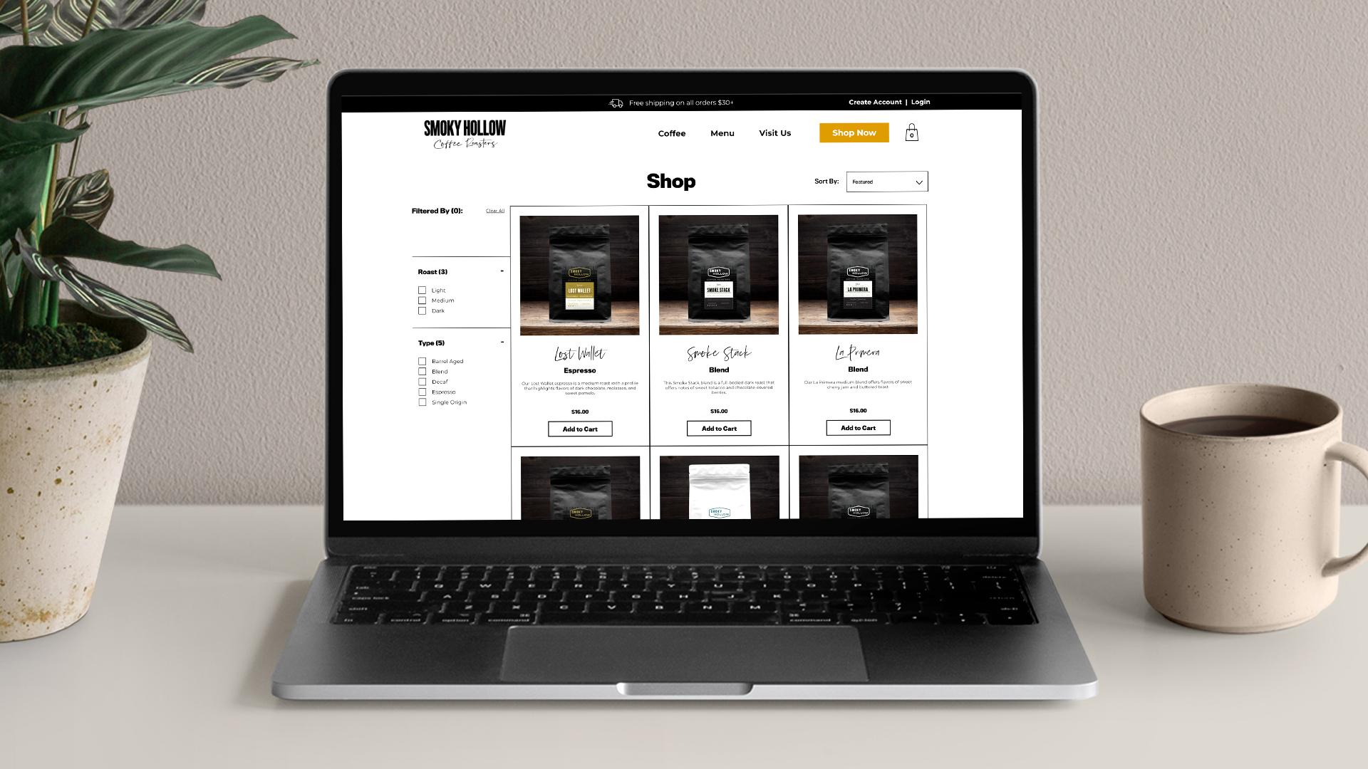 Smoky Hollow Coffee Roasters eCommerce Website