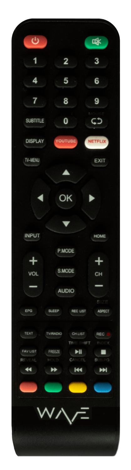 WAVE remote with dedicated buttons for Netflix and Youtube