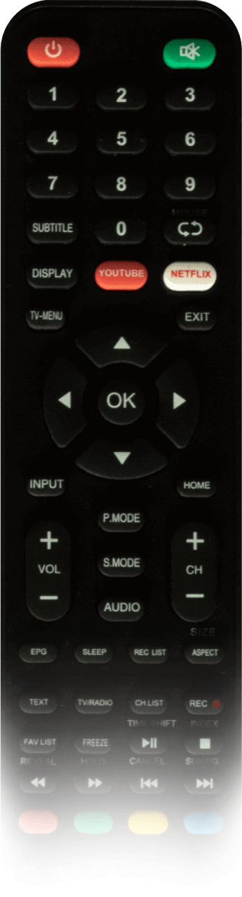 WAVE remote with special buttons to connect instantly to Netflix and Youtube