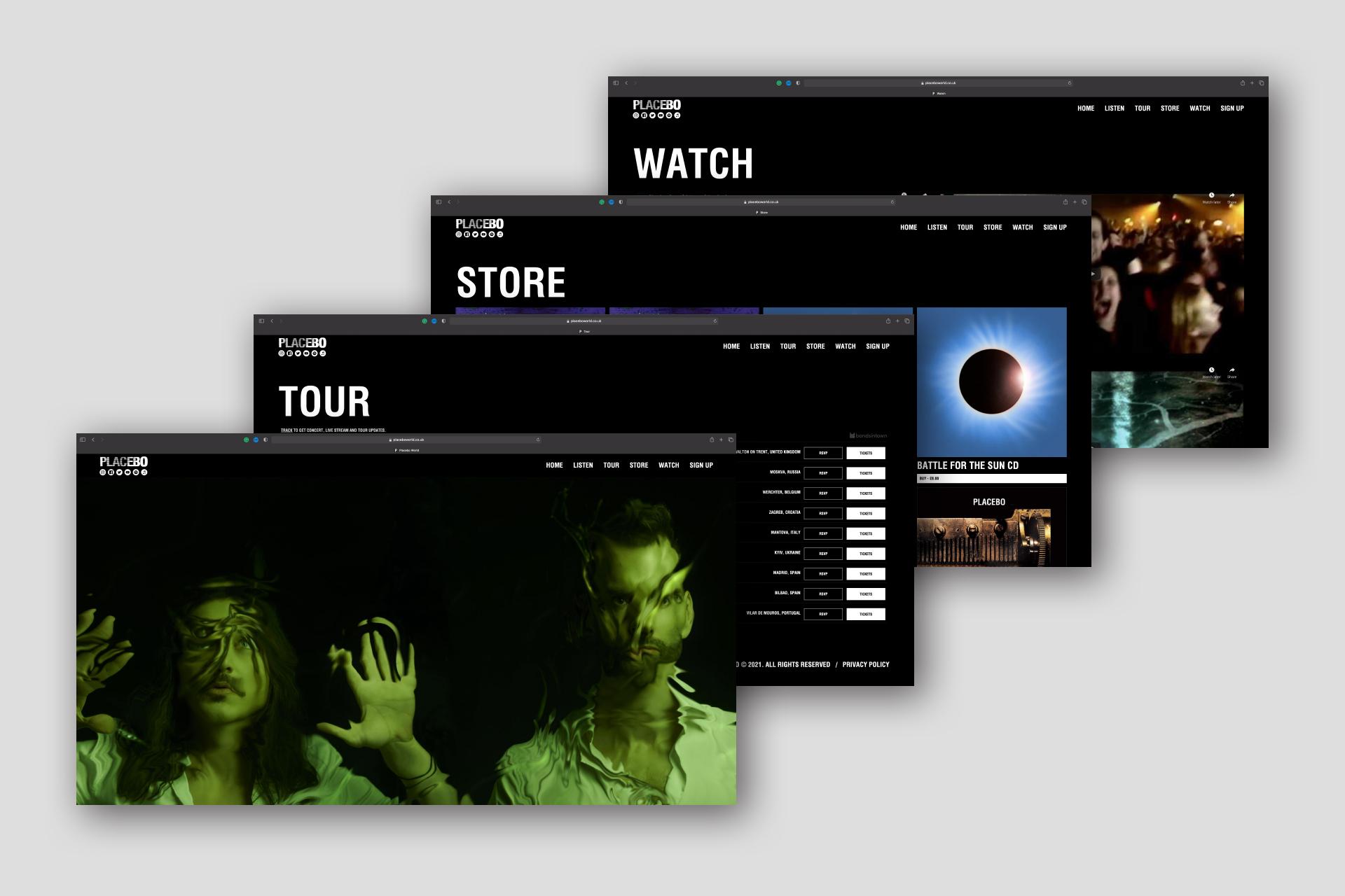 placebo, flower up, placebo band, website, web design, graphic design