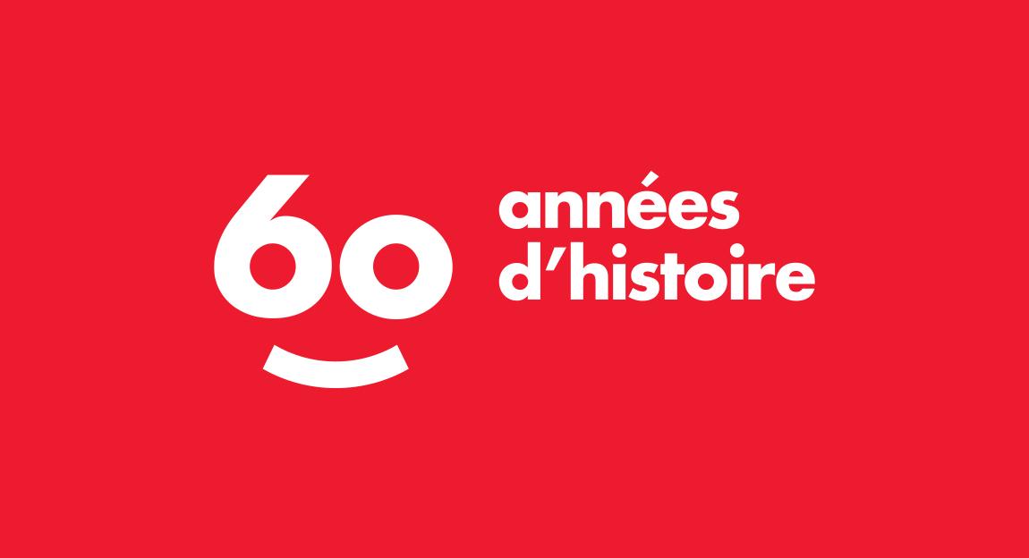 Scholastic 60 year celebratory french logo lockup