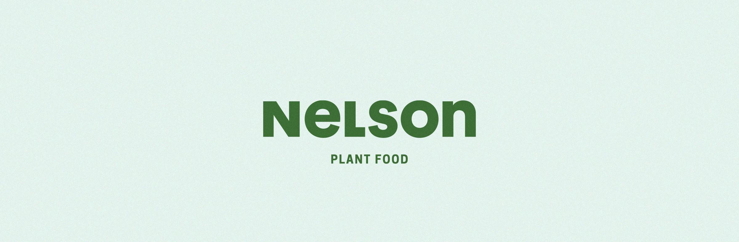 Nelson Plant Food logo lockup green on blue